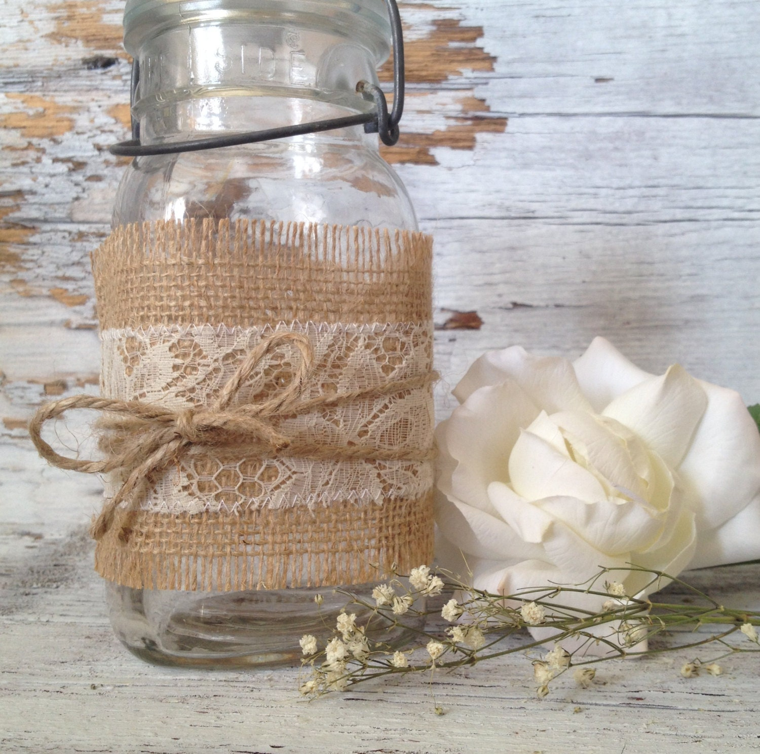 Rustic Wedding Centerpieces Lace Burlap By DenaDanielleDesigns