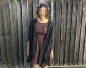 Black Chiffon Kimono-inspired Cover-up/Light Cardi-------------other fabric available!