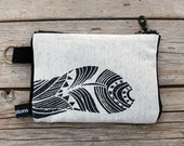black & white Linen Purse, tobacco pouch, coins purse, feather print, screen print, unisex.