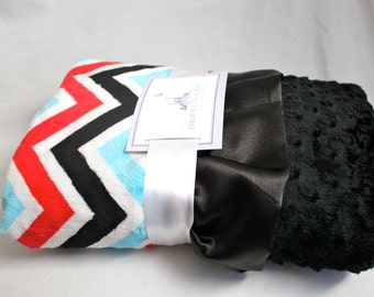 Minky Cuddle Zig Zag Chevron Baby Blanket in Turquoise, Red, and Black