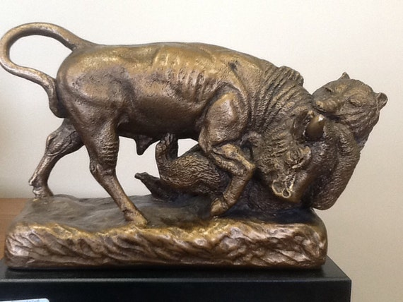 Chalk Statue Of Bear And Bull Of Wall Street By