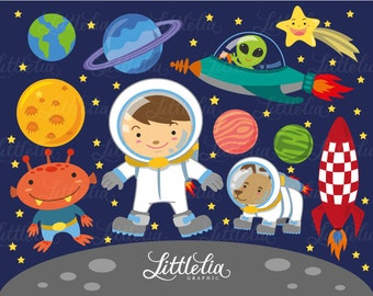 astronaut in outerspace clipart set / instant download - 13011