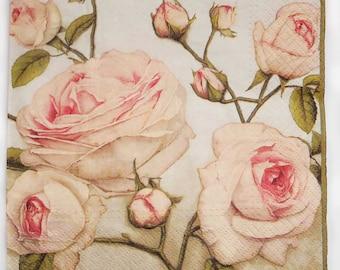 4 Decoupage Napkins | Pastel Roses | Rose Napkins Romantic Napkins Floral Napkins Elisabeth Roses | Lunch Paper Napkins for Decoupage