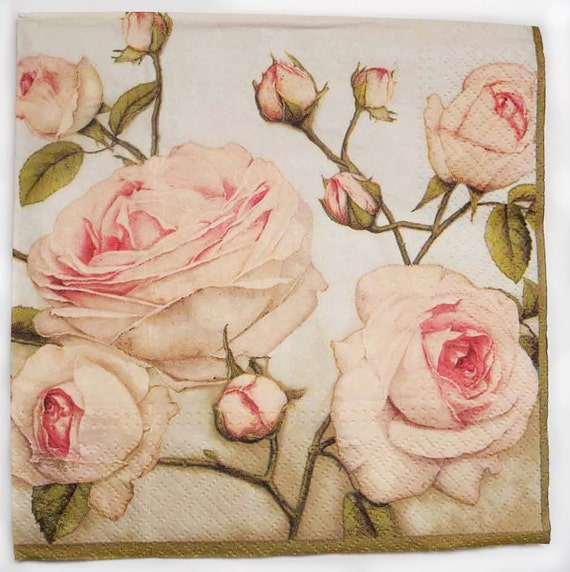 4 Decoupage Paper Napkins Pastel Roses Rose Napkins