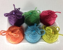 Set of 6 Easter egg ornaments vase filler multi colored twine wrapped eggs with twine string hanger (set of 6)