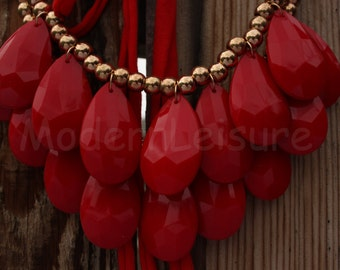 Red Statement Necklace necklace Bib necklace Bubble necklace two layer teardrop necklace for women gift bead necklace beaded necklace