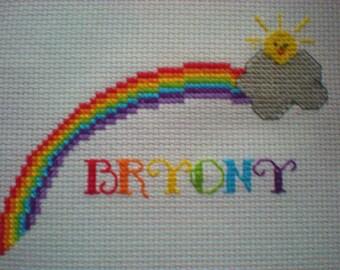 Rainbow Personalised Cross Stitch Kit Any Name