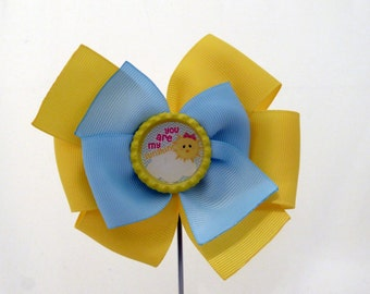 Yellow and Blue - You Are My Sunshine Hair Bow