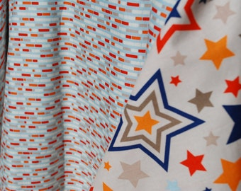Stripes and Stars in Red Orange and Gray - Car Seat Canopy/Cover