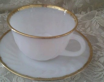 Oven Fire King Ware Made in USA Cup and Saucer White Gold Trim