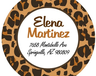 Address Labels - Leopard Return Address Labels -  Personalized Stickers, Shipping Labels