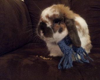 rabbit scarf, small dog scarf, dog scarf, cat scarf, pet scarf, blue mini scarf, doll scarf, american girl scarf, double crochet scarf