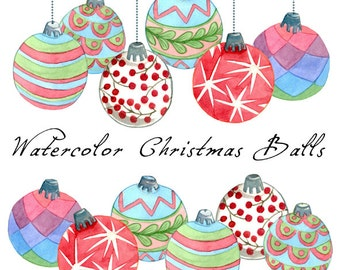 Christmas Clipart, Christmas Balls, Watercolor Balls
