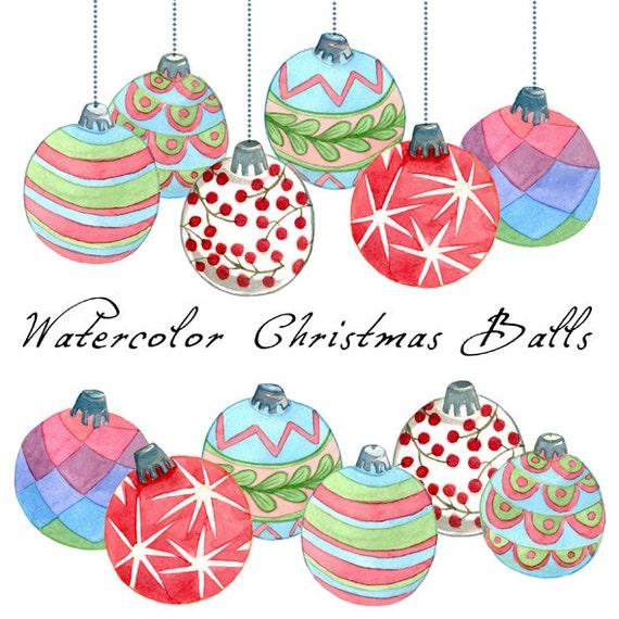 Christmas Clipart Christmas Balls Watercolor Balls