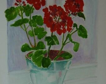 Fine Art print of original painting - Red Geranium