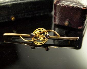 Antique Gold Garnet Brooch, Edwardian Gold Pin
