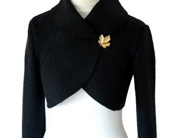 Women Boiled Wool  Bolero Jacket Size XS-XL  Black