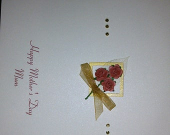 Lovely handmade personalised Mother's day card with paper flowers