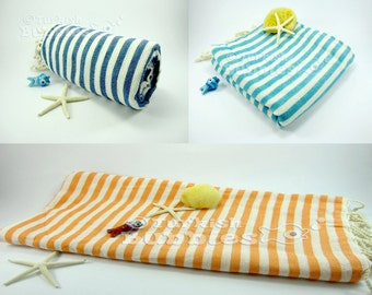 FREE Shipment, Set of 3, Cotton Turkish towels, Bridesmaid Gifts, Peshtemal and beach towels , Exclusive Quality Turkish Cotton