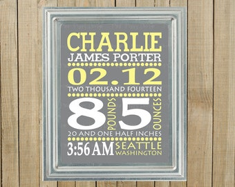 Gray with Yellow and White Personalized Birth Statistics Announcement Wall Decor, Nursery, Playroom, Gift, Printable, Custom Digital File