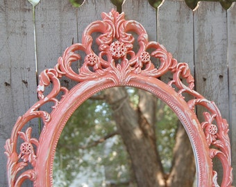 Shabby Chic Mirror, Coral, White, Oval, Upcycled, Ornate, Wedding Decor, Wall Mirror, Hand Painted, Hollywood Regency, Nursery Decor