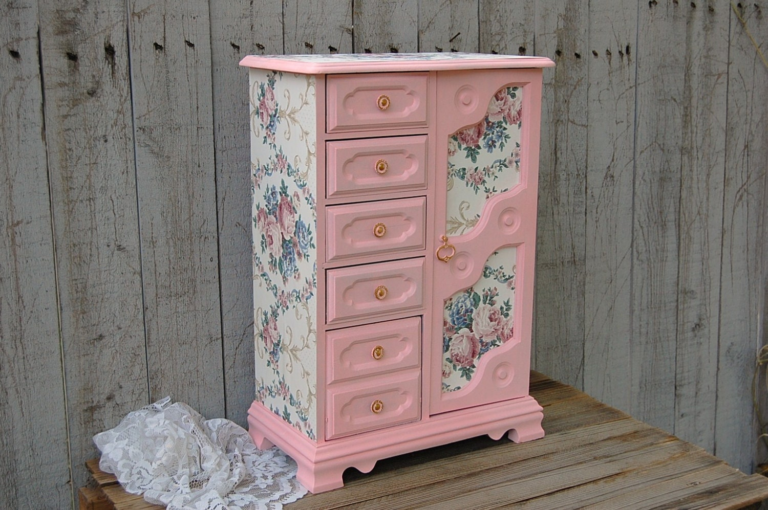 Shabby Chic Jewelry Box Pink Armoire French Decoupage