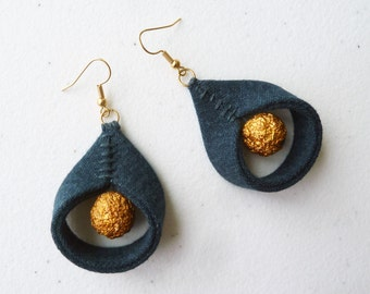 Unique Eco Water Drop Artisan Earrings / Dark Denim + Gold Foil Bead / Upcycled Jewelry / Floating Golden Full Moon OOAK Green Gift upmade