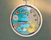 FREE SHIPPING steampunk pendant silver plating, blue enamel, 56mm diameter, high quality resin.