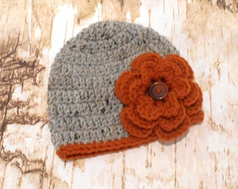Baby Girl Knit Hat Pumpkin and Gray, Autumn Knit Hat, Fall Knit hat with flower, 0-3 months newborn photography prop