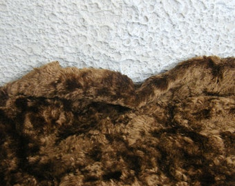 Vintage Plush Luxurious fabric (viscose on cotton base). Bright rich color brown plush. 1980's