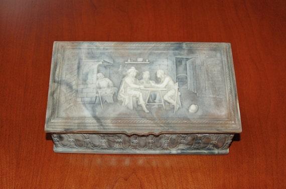 Vintage Incolay Stone Tavern Scene Men S Valet Box Bas