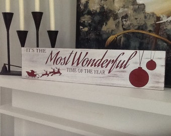 Its the most wonderful time of the year- handmade wood christmas sign