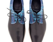 Women Oxford shoes, Blue Plead Fabric with Black Leather - ARAMAshoes