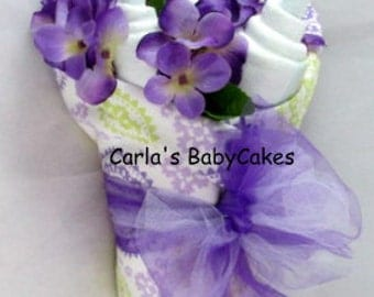 Baby Floral Bouquet - Baby Shower Bouquet - New Mom Gift - Baby shower decoration - Unique baby gift - Baby diaper gift - New baby gift