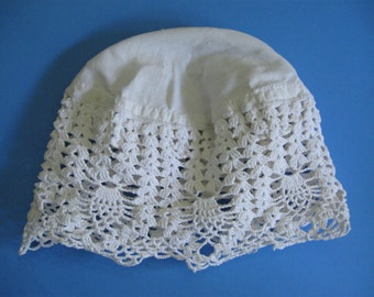 Crocheted White Beanie/Sun Hat Starched Linen