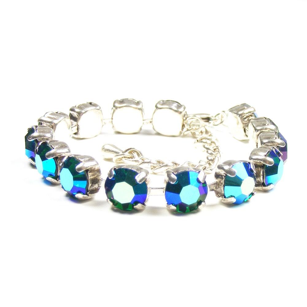 Crystal Emerald AB Tennis Bracelet, 1960s Vintage Rhinestones Bracelet, LAST ONE