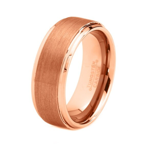 Rose Gold Wedding Band Ring Tungsten Carbide 8mm By