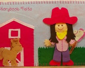 Storybook Felts Felt My LIittle Cowgirl Doll Dress Up Set With Book 16 PCS Paper Doll