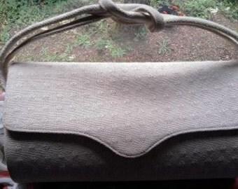 Vintage Ivory Midcentury Mod Mad Pinup rockabilly Cottage Chic Fabric Structured Box Purse Handbag Clutch