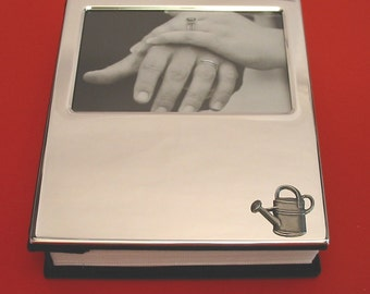"Watering Can Design Plated 100 6"" x 4"" Photo Album With Pewter Motif Gardening Gift"