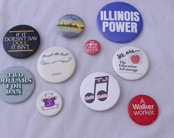 Vintage Buttons, Lot of Flair, Souvenir Buttons, Jacket Buttons, Tacky Buttons