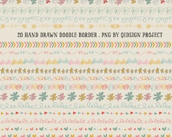 Hand drawn border, Doodle Border Scrapbook embellish Invitation Chalkboard Blog graphics personal and commercial use