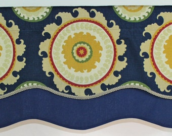 Suzani layered shaped valance with gimp trim in blue and red