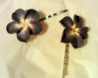 Dark Purple and Yellow Plumeria Bobby Pin Set