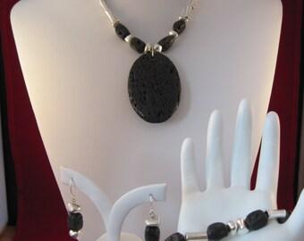 Black Lava/Pewter 3 Piece Jewelry Set