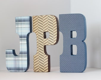 Boy Free Standing Brown& Blue Custom Wood Letters