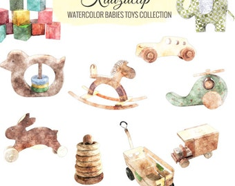 Watercolor Babies Toys Collection- Commercial and Personal Use