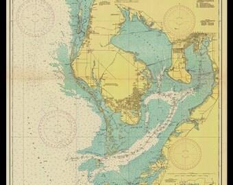 Nautical Map of Tampa Bay -1943 Nautical Chart