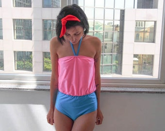 Swim Suit Color-Block Pink and Turquoise  // Blouson Swimsuit with Strapless Halter Neck