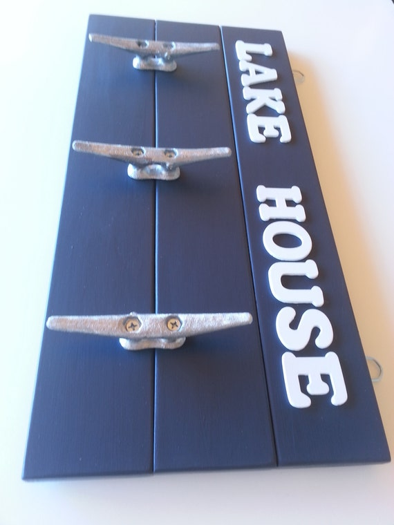 Wall Decor For Lake House : Wall rack navy blue decor lake house by laurenannalei
